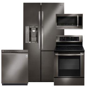 LG Black Stainless Steel Kitchen Suite - LSXS26366D, LRE3061BD, LMHM2237BD, LDF5545BD