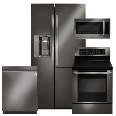 LG Black Stainless Steel Kitchen Suite   LSXS26366D, LRE3061BD, LMHM2237BD,  LDF5545BD