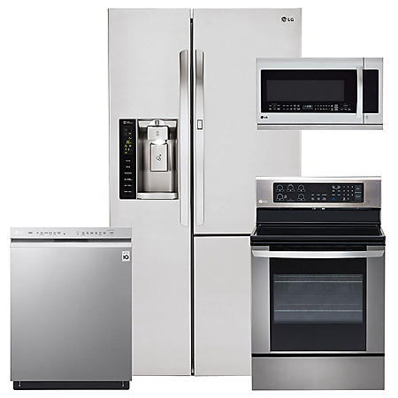 LG - LSXS26366S, LRE3061ST, LMHM2237ST, LDF5545ST Stainless Steel Kitchen Suite
