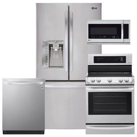LG - LFXS29766S, LRE4213ST, LMHM2237ST, LDT5665ST Stainless Steel Kitchen Suite