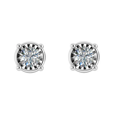 0 50 Ct T W Diamond Earrings In 14k White Gold