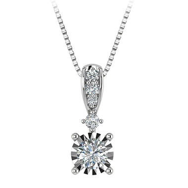 0 45 Ct T W Diamond Pendant In 14k White Gold