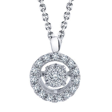 Dancing 0.21 T.W. Diamond Round Cluster Pendant in Sterling Silver
