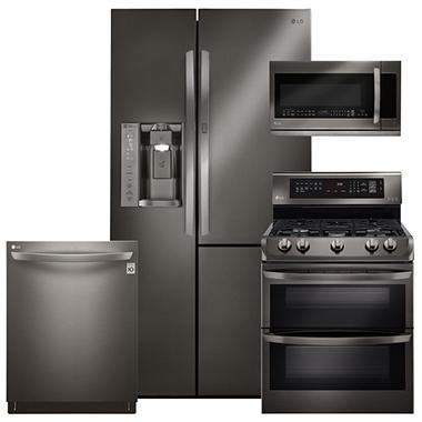 Kitchen Suite Appliance bundles sams club lg lsxs26366d ldg4313bd lmhm2237bd ldt5665bd black stainless steel kitchen suite gas workwithnaturefo