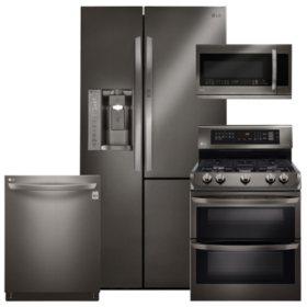 LG LSXS26366D, LDG4313BD, LMHM2237BD, LDT5665BD Black Stainless Steel Kitchen Suite (Gas)