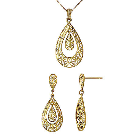 Pendant & Earrings Set in 14K Yellow Gold
