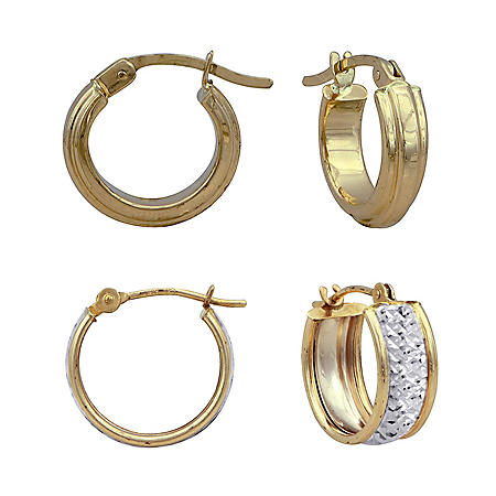 Huggie Hoop Earring Set in 14K Two-Tone