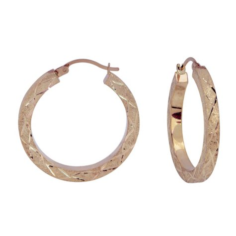 Diamond Cut Square Tube Hoop Earrings in 14K Yellow Gold