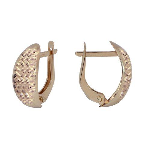 Diamond Cut Sheld Earrings in 14K Yellow Gold
