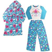 Girls' Licensed 3-Piece Fleece Pajama Set with Robe