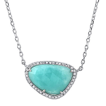 Sterling Silver Amazonite and Diamond Pendant