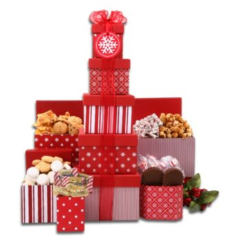 Alder Creek Gift Baskets Red and White 5 High Gift Tower