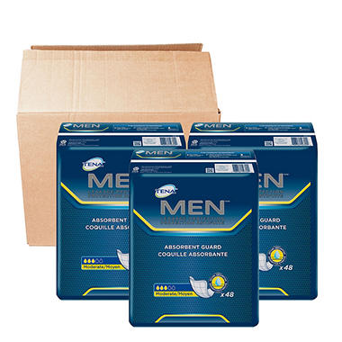 TENA Men Absorbent Guards Bundle, Moderate (48 ct., 3 pk.)