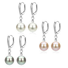 Sterling Silver 8-9mm Freshwater Pearl Pyramid Bead Shield Leverback Earrings Set