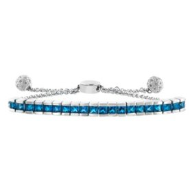 Gemstone and Sterling Silver Bolo Bracelet with White Topaz Accents