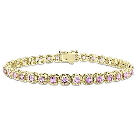 Allura 5.20 CT TGW Pink Sapphire Tennis Bracelet in 14K Yellow Gold