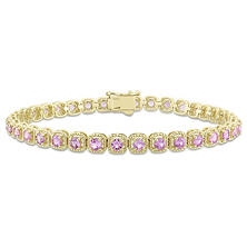 Allura 5.20 CT TGW Pink Sapphire Tennis Bracelet in 14K Yellow Gold