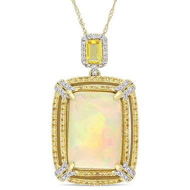 Allura 14.50 CT TGW Ethiopian Opal Yellow Sapphire and 0.31 CT Diamond Double Halo Pendant in 14K Yellow Gold
