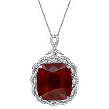 Allura 33.31 CT TGW Cushion-Cut Garnet and 1.33 CT Diamond Halo Pendant in 14K White Gold