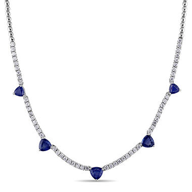 Allura 4.39 CT. TGW Sapphire and 1.62 CT. Diamond Heart Station Necklace in 18K White Gold