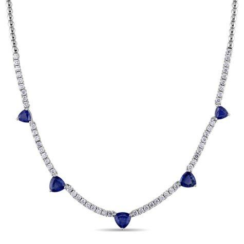 Allura 4.39 CT. TGW Sapphire and 1.62 CT. Diamond Heart Station Necklace in 18K White Gold