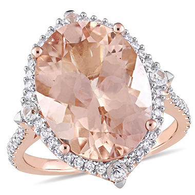 Allura 9.94 CT TGW Oval-Cut Morganite White Sapphire and 0.39 CT Diamond Halo Ring in 14K Rose Gold