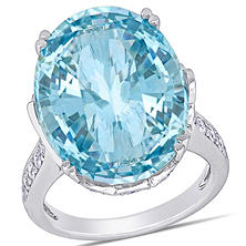 Allura 23.64 CT TGW Oval-Cut Natural Blue Topaz and 0.91 CT Diamond Cocktail Ring in 14K White Gold