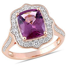 Allura 3 CT TGW Cushion-Cut Pink Spinel and 0.64 CT Diamond Vintage Halo Ring in 14K Rose Gold