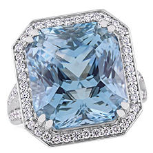 Allura 20.34 CT TGW Octagon-Cut Natural Blue Topaz and 1.45 CT Diamond Halo Cocktail Ring in 14K White Gold