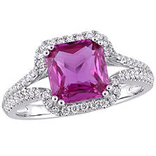 Allura 2.50 CT TGW Octagon-Cut Pink Sapphire and 0.36 CT Diamond Split-Shank Halo Ring in 14K White Gold