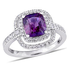 Allura 2.46 CT. TGW Cushion-Cut Violet Sapphire and 0.50 CT. T.W. Diamond Double Halo Ring in 14K White Gold