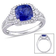 Allura 2.52 CT TGW Cushion-Cut Sapphire and 0.58 CT Round and Pear-Cut Diamond Halo Ring in 14K White Gold