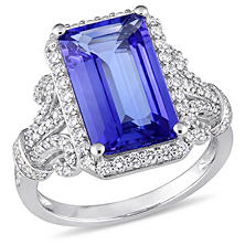 Allura 4.81 CT TGW Octagon-Cut Tanzanite and 0.60 CT Diamond Halo Vintage Ring in 14K White Gold