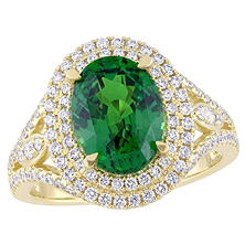 Allura 3.72 CT TGW Oval-Cut Natural Tsavorite and 0.75 CT Diamond Vintage Double Halo Ring in 14K Yellow Gold