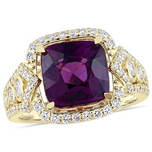 Allura 4.36 CT TGW Cushion-Cut Rhodolite and 0.68 CT Diamond Vintage Halo Ring in 14K Yellow Gold
