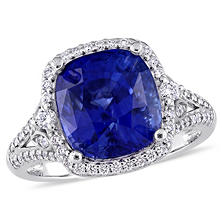 Allura 7.18 CT TGW Cushion-Cut Sapphire and 0.50 CT Diamond Halo Ring in 14K White Gold