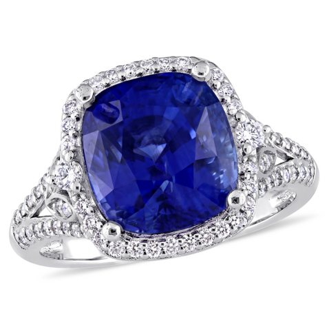 Allura 7.18 CT. TGW Cushion-Cut Sapphire and 0.50 CT. Diamond Halo Ring in 14K White Gold
