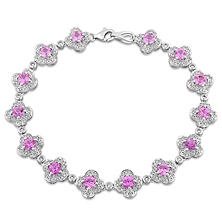 4.50 CT. TGW Pink Sapphire and 1 CT Diamond Floral Link Bracelet in 14K White Gold