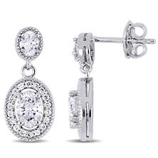Allura 1.50 CT Oval-Cut Diamond Halo Dangle Earrings in 14K White Gold