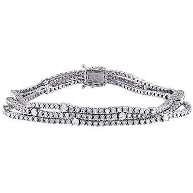 Allura 4.83 CT. Diamond Triple Row Station Tennis Bracelet in 18K White Gold