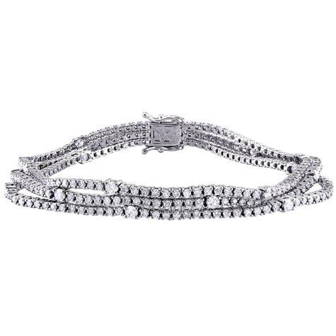 Allura 4.83 CT. Diamond Triple Row Station Tennis Bracelet in 18K White Gold