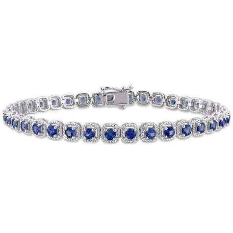 Allura 5.50 CT. T.G.W. Sapphire Tennis Bracelet in 14K White Gold
