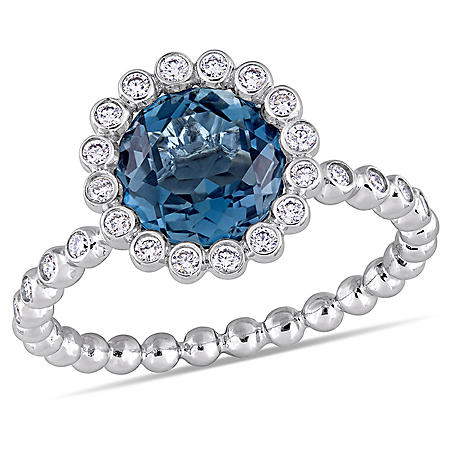 2.30 CT TGW London-Blue Topaz and 0.23 CT Diamond Halo Scalloped Ring in 14K White Gold