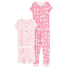 Member's Mark Girl's 4 Piece Pack Snug Fit Pajamas