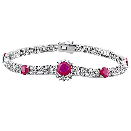 Allura 3.44 CT TGW Ruby and 3 CT Diamond Halo Bracelet in 14K White Gold