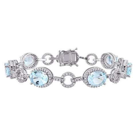 Allura 17.50 CT. TGW Blue Topaz and 1.54 CT. T.W. Diamond Halo Link Bracelet in 14K White Gold