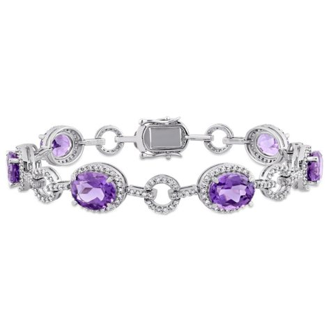 Allura 14 CT. TGW Amethyst and 1.54 CT. T.W. Diamond Halo Link Bracelet in 14K White Gold
