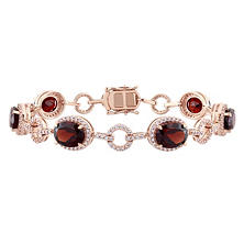 Allura 14.70 CT. TGW Garnet and 1.54 CT T.W. Diamond Halo Link Bracelet in 14K Rose Gold
