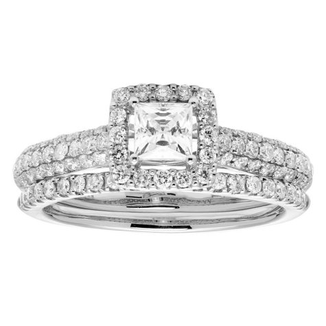 1.0 CT. T.W. Princess Diamond Halo Bridal Set in 14K Gold