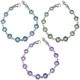 62 CT. T.W. Round 8MM Gemstone Bracelet Set